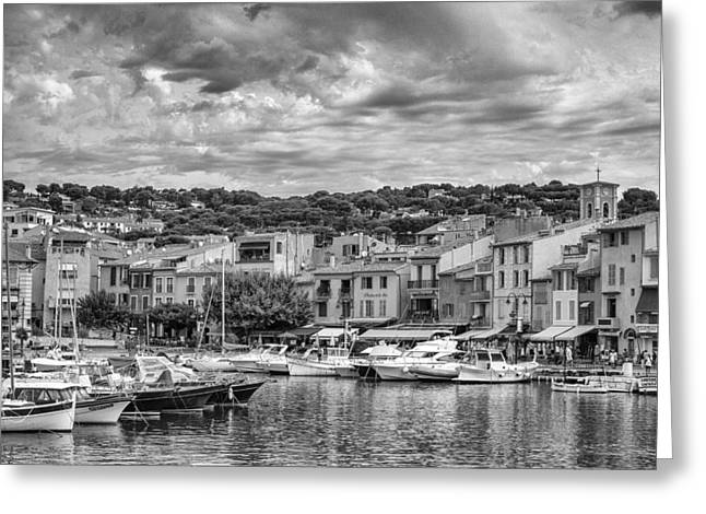 South Of France Greeting Cards - Cassis - South of France in Mono Greeting Card by Nomad Art And  Design