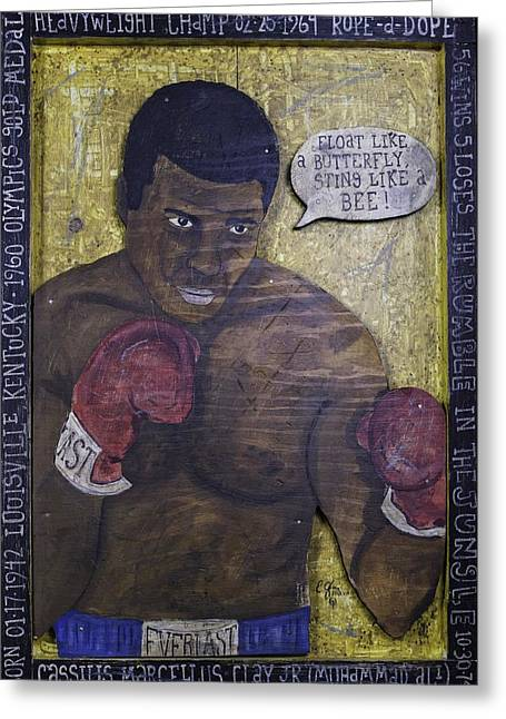 Cassius Clay - Muhammad Ali Greeting Card by Eric Cunningham