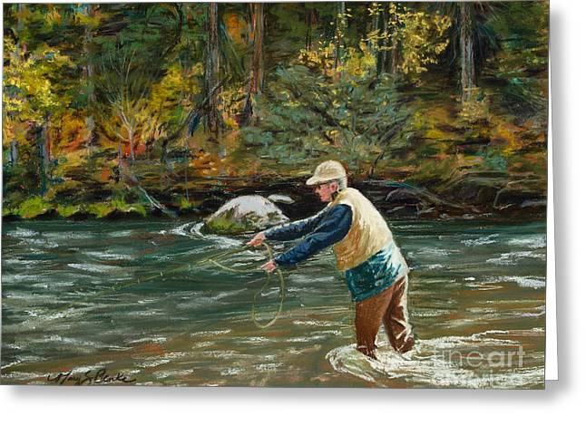 Trout Fishing Pastels Greeting Cards - Cast Away Greeting Card by Mary Benke