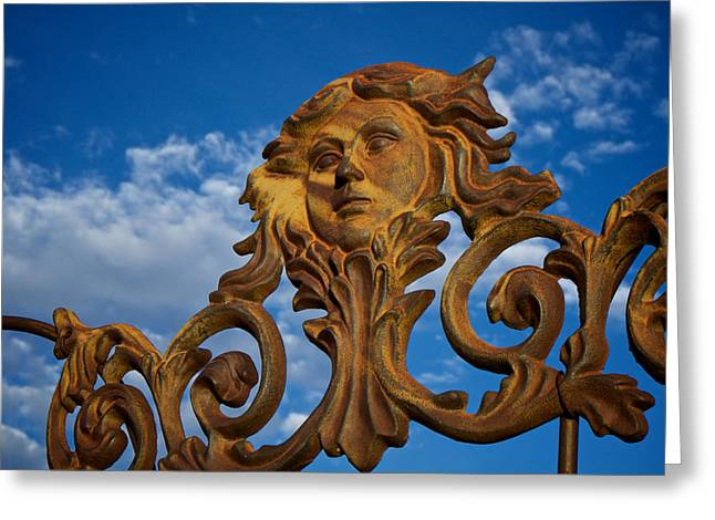 Maiden Greeting Cards - Cast Iron Maiden of the Sky Greeting Card by Mary Lee Dereske