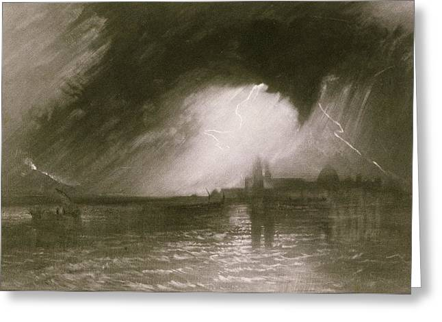 Ocean Black And White Prints Greeting Cards - Castania Sicily Greeting Card by Joseph Mallord William Turner