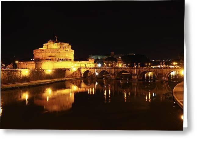 Night Angel Greeting Cards - Castel Sant Angelo Greeting Card by Giorgio Lumaconi