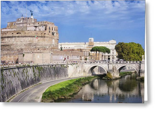 Famous Bridge Greeting Cards - Castel Sant Angelo Greeting Card by Joan Carroll