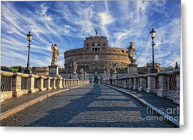 Rome Pyrography Greeting Cards - Castel Sant Angelo Greeting Card by Mauro Celotti