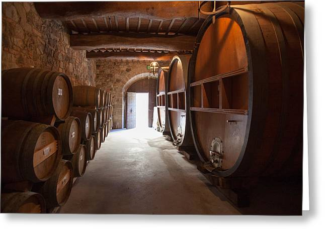 Wine Vault Greeting Cards - Castelle Di Amorosa Barrel Room Greeting Card by Scott Campbell
