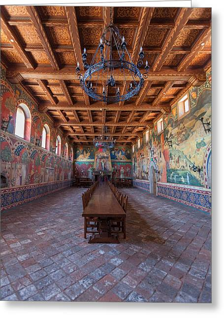 Wine Vault Greeting Cards - Castelle Di Amorosa Dining Hall Greeting Card by Scott Campbell