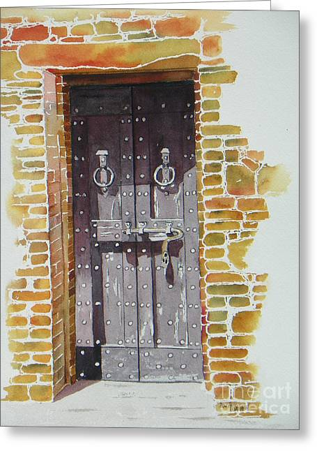 Calistoga Paintings Greeting Cards - Castello Di Amorosa Greeting Card by Lou Ann Overman