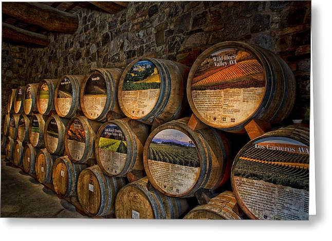 Basement Greeting Cards - Castello di Amorosa of California Wine Barrels Greeting Card by Mountain Dreams