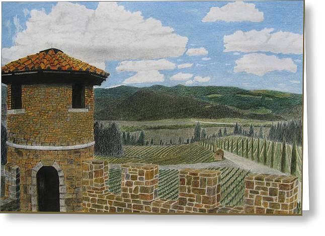Napa Drawings Greeting Cards - Castello di Amorosa Greeting Card by Steve Keller