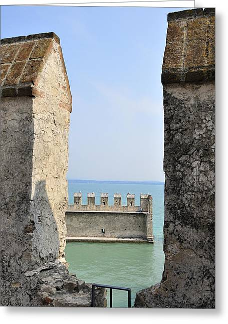 Turquois Greeting Cards - Castello Scaligero Castle Sirmione Italy Greeting Card by Matthias Hauser