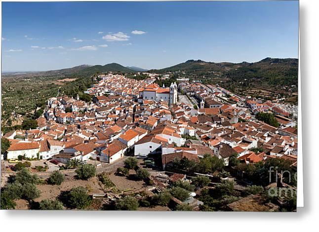 Birdseye Greeting Cards - Castelo de Vide rooftops Greeting Card by Jose Elias - Sofia Pereira