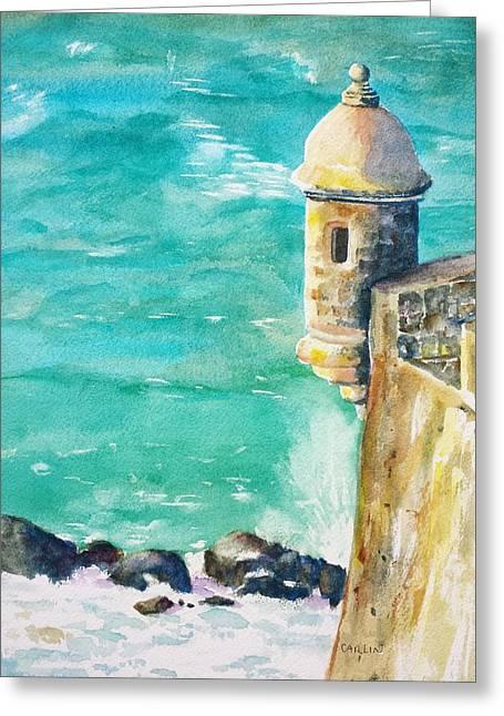 Old San Juan Paintings Greeting Cards - Castillo de San Cristobal Ocean Sentry  Greeting Card by Carlin Blahnik