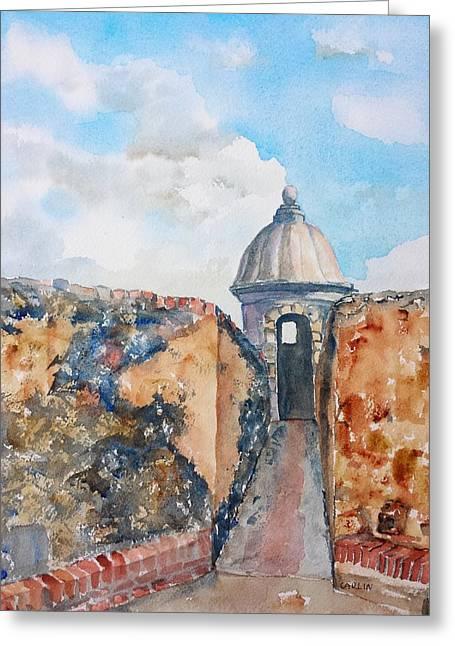 Old San Juan Paintings Greeting Cards - Castillo de San Cristobal Sentry Door Greeting Card by Carlin Blahnik