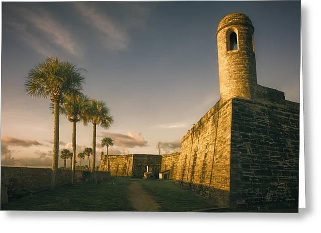 Bastion Greeting Card featuring the photograph Castillo De San Marcos Dawn by Joan Carroll