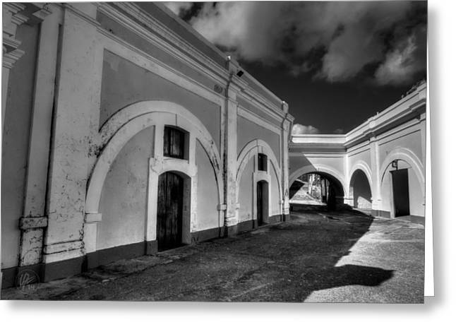 Castillo San Felipe Greeting Cards - Castillo San Felipe del Morro 003 BW Greeting Card by Lance Vaughn