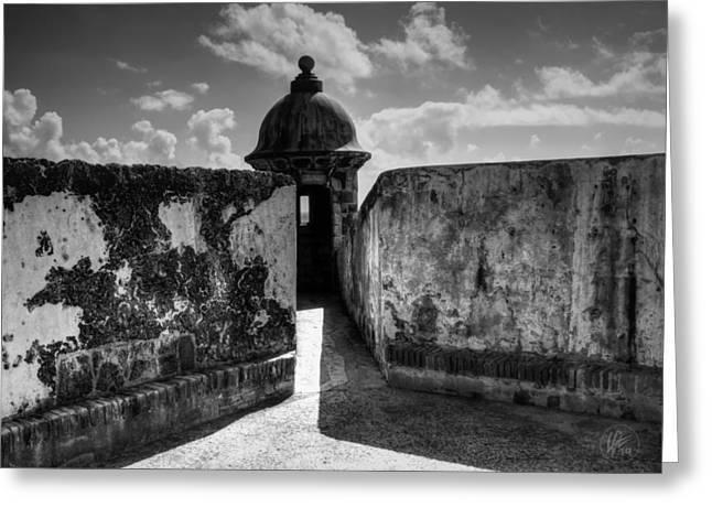 Castillo San Felipe Del Morro 005 Bw Greeting Card by Lance Vaughn