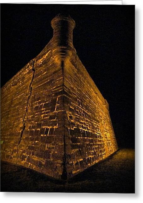 Historic Site Greeting Cards - Castillo San Marcos at Night Greeting Card by Laurie Perry