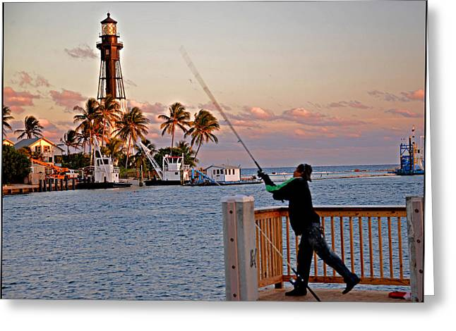 Pompano Greeting Cards - Casting at Hillsboro Lighthouse Greeting Card by Allan Einhorn