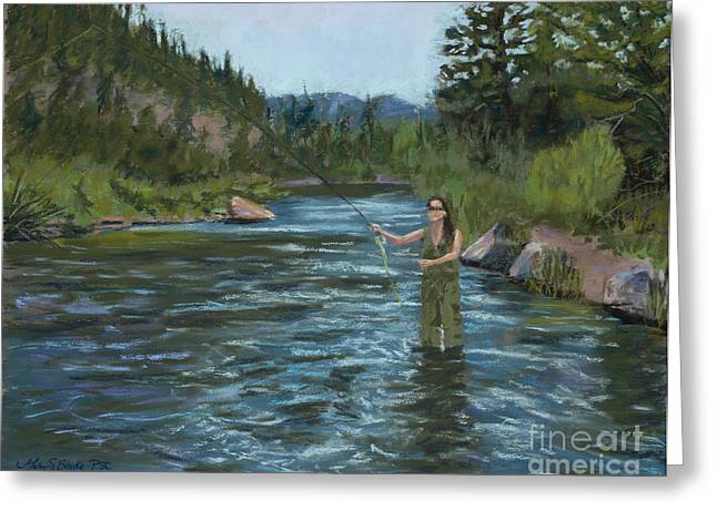 Flyfishing Pastels Greeting Cards - Casting Call Greeting Card by Mary Benke