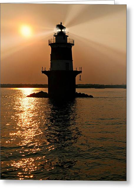 Ledge Greeting Cards - Pecks Ledge Lighthouse Greeting Card by Diana Angstadt
