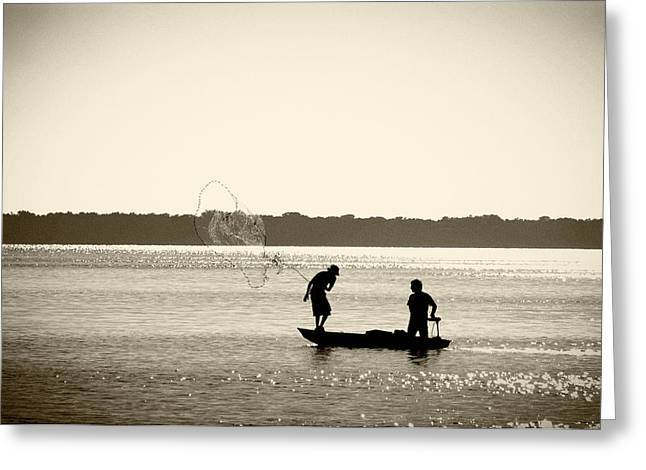 Fishing Boats Greeting Cards - Casting Greeting Card by Patrick M Lynch