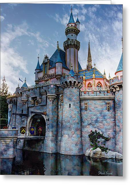 Disney Photographs Greeting Cards - Castle And Clouds Greeting Card by Heidi Smith