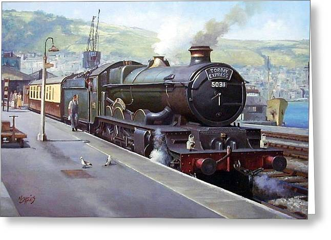 Trains Paintings Greeting Cards - Castle at Kingswear 1957 Greeting Card by Mike  Jeffries