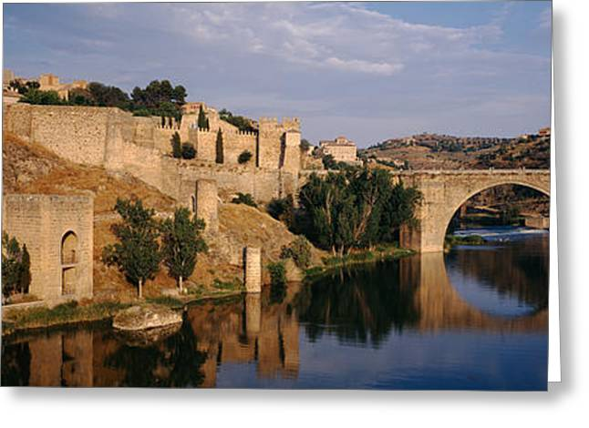 Fortified Wall Greeting Cards - Castle At The Waterfront, Puente De San Greeting Card by Panoramic Images