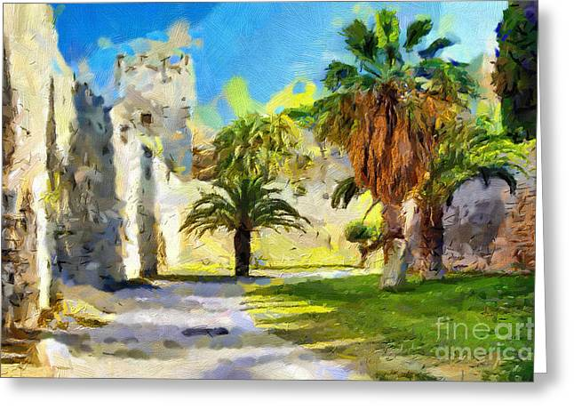 Curve Ball Paintings Greeting Cards - Castle backyard painting Greeting Card by Magomed Magomedagaev