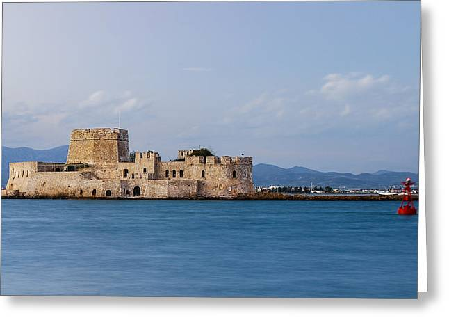 Castle Bourtzi and Buoy Greeting Card by David Waldo
