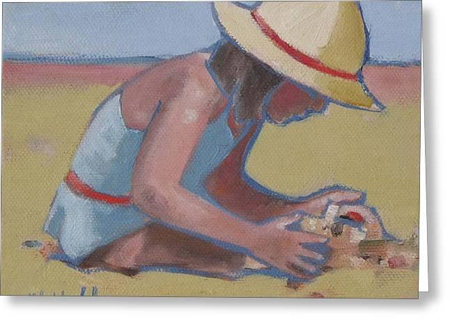 Sand Castles Greeting Cards - Castle Builder Beach sand castle Greeting Card by Mary Hubley