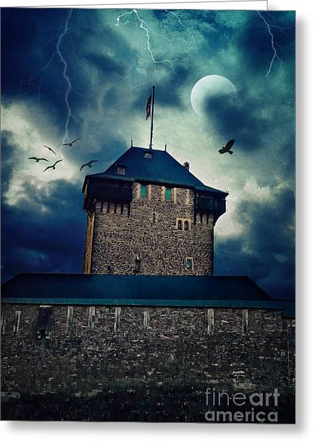 Thunderstorm Mixed Media Greeting Cards - Castle Burg Greeting Card by Angela Doelling AD DESIGN Photo and PhotoArt