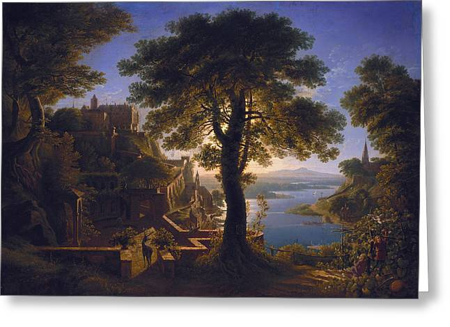 Karl Friedrich Schinkel Greeting Cards - Castle by the River Greeting Card by Celestial Images