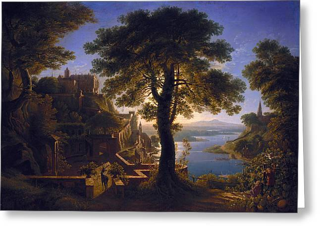 Karl Greeting Cards - Castle by the River Greeting Card by Karl Friedrich Schinkel