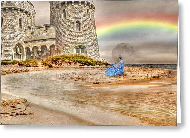 Stormy Weather Greeting Cards - Castle by the Sea Greeting Card by Betsy C  Knapp