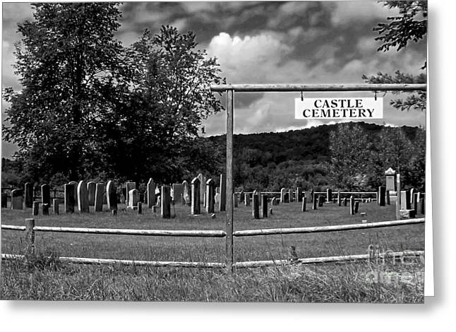 Engraving Greeting Cards - Castle Cemetery in Jericho Vermont Greeting Card by James Aiken