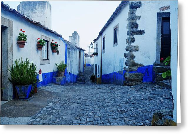 Pallet Knife Photographs Greeting Cards - Castle Corridor Obidos Greeting Card by Nelson Anastacio