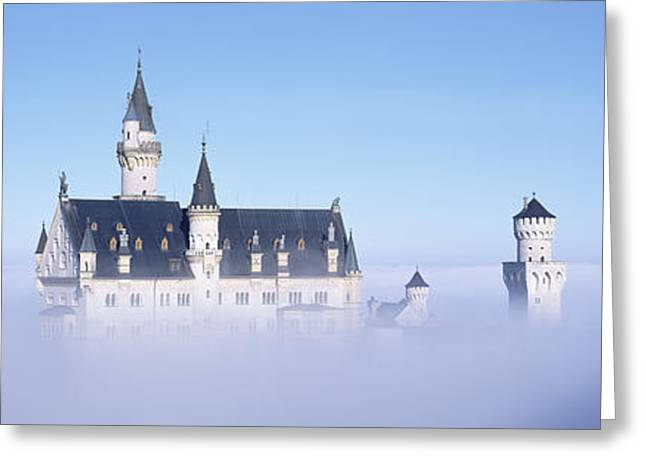 Century Series Greeting Cards - Castle Covered With Fog, Neuschwanstein Greeting Card by Panoramic Images