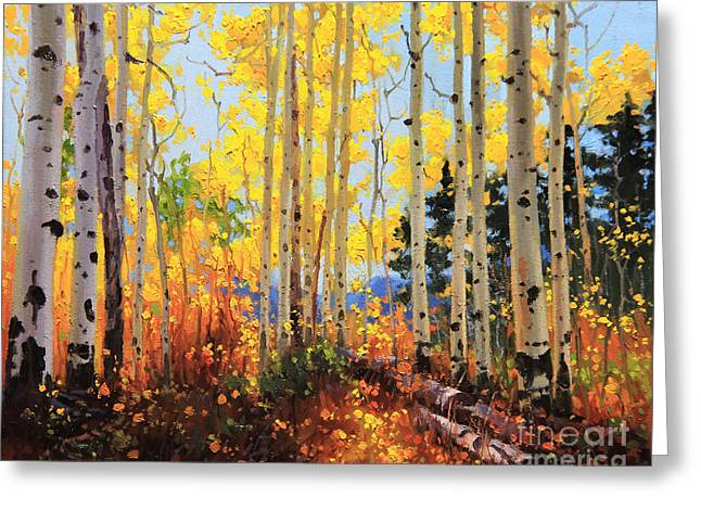 Aspen Grove Greeting Cards - Castle Creek Road Greeting Card by Gary Kim