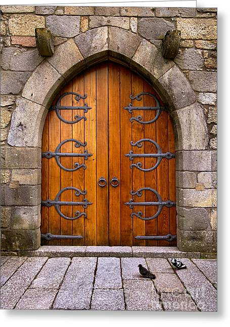 Medieval Entrance Photographs Greeting Cards - Castle Door Greeting Card by Carlos Caetano