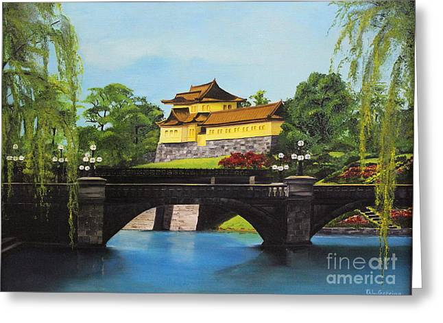 Himeji Castle Garden Greeting Cards - Castle Gardens Greeting Card by D L Gerring