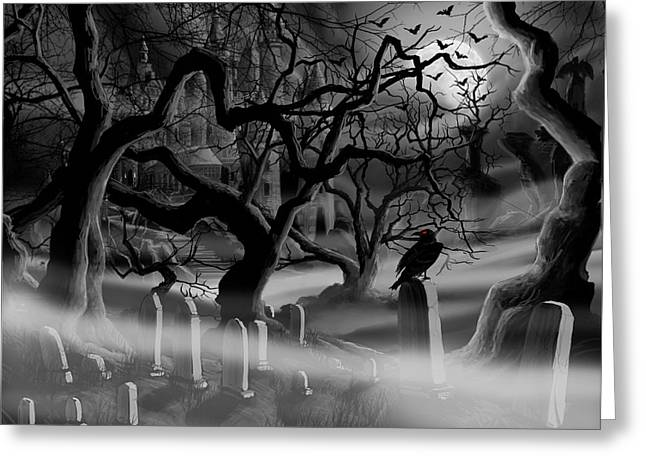 Castle. Birds Greeting Cards - Castle Graveyard Greeting Card by James Christopher Hill