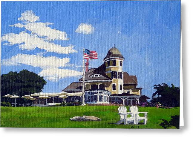 Recently Sold -  - Sand Castles Greeting Cards - Castle Hill Inn Newport Rhode Island Greeting Card by Christine Hopkins