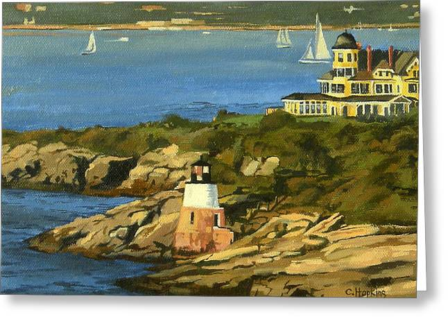 Hopkins Island Greeting Cards - Castle Hill Light and Inn Newport Rhode Island Greeting Card by Christine Hopkins