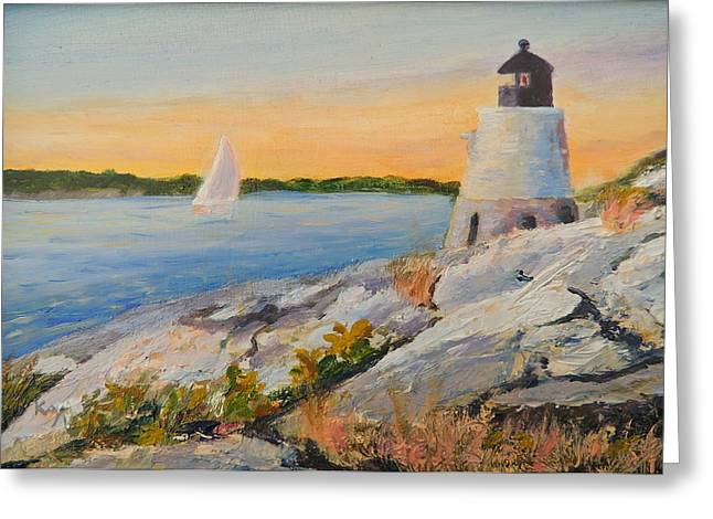 Castle Hill Light House Newport Ri Greeting Card by Patty Kay Hall