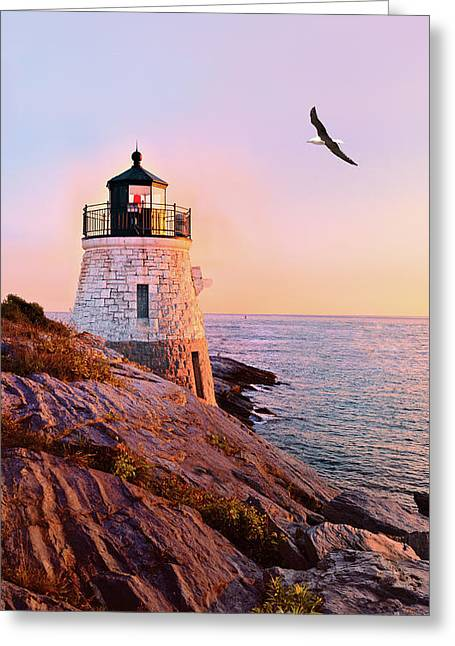 Castle. Birds Greeting Cards - Castle Hill Lighthouse 2 Newport Greeting Card by Marianne Campolongo