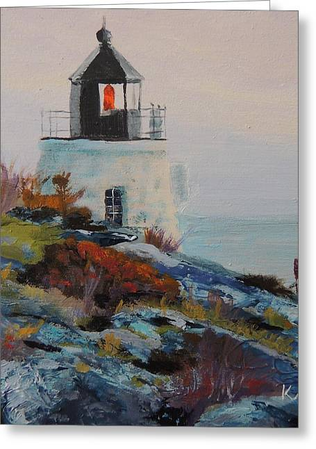 New England Ocean Greeting Cards - Castle Hill Lighthouse Newport RI Greeting Card by Patty Kay Hall