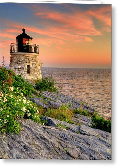 Coastal Lighthouses Greeting Cards - Castle Hill Lighthouse-Rhode Island Greeting Card by Thomas Schoeller