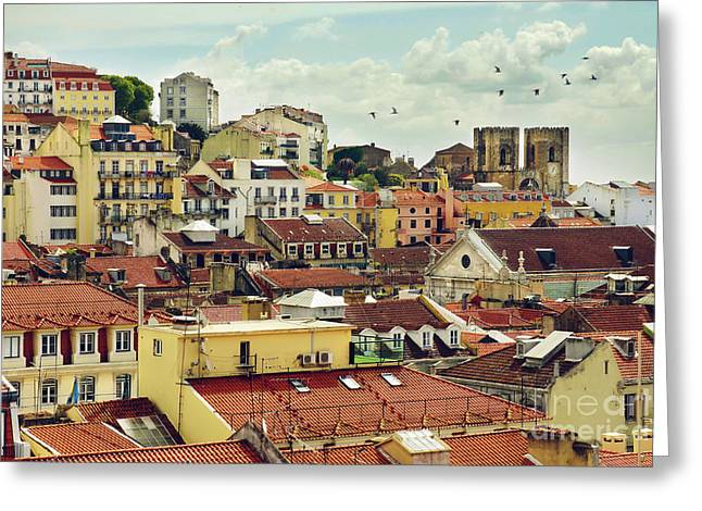 City Buildings Greeting Cards - Castle Hill Neighborhood Greeting Card by Carlos Caetano