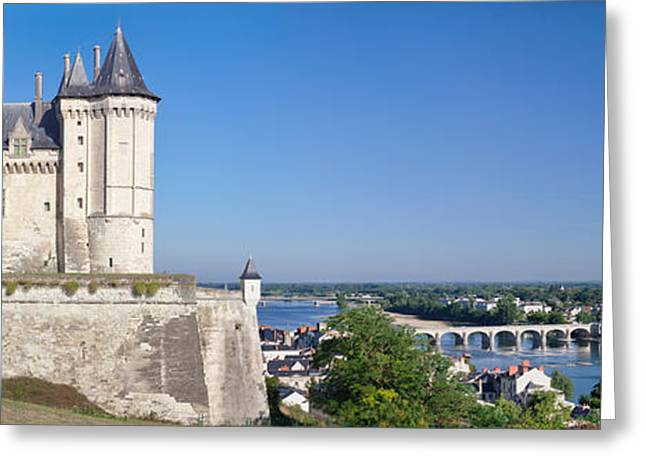 Chateau Greeting Cards - Castle In A Town, Chateau De Samur Greeting Card by Panoramic Images